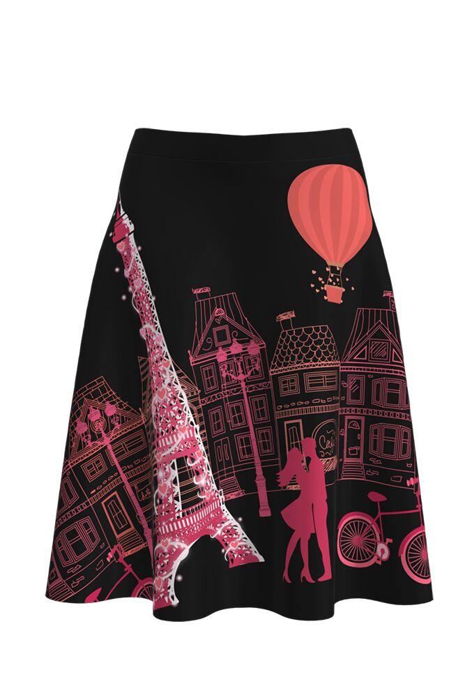 Fustă cloș imprimată digital Paris Black A817-I10