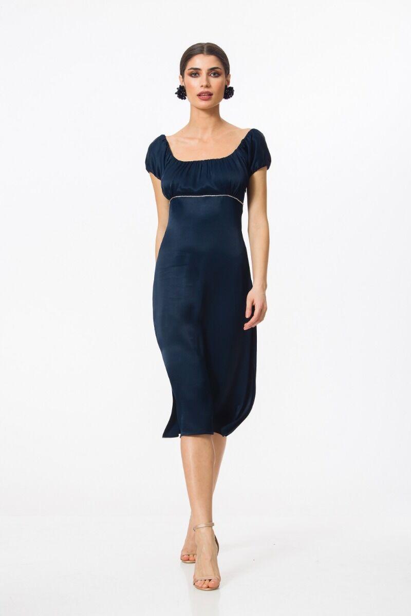 Rochie DAMES de craciun eleganta bleumarin cu detaliu sub bust