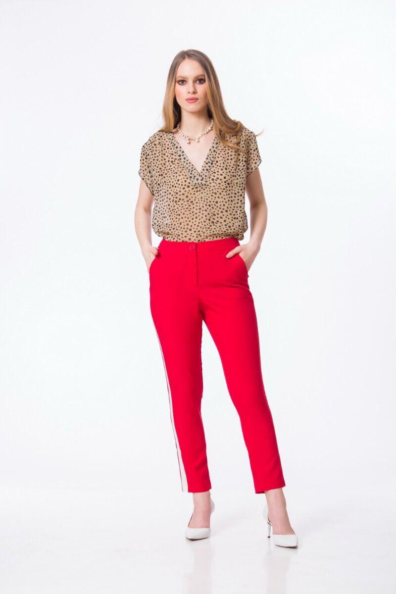 pantaloni DAMES Black Friday casual rosii cu vipusca si buzunare