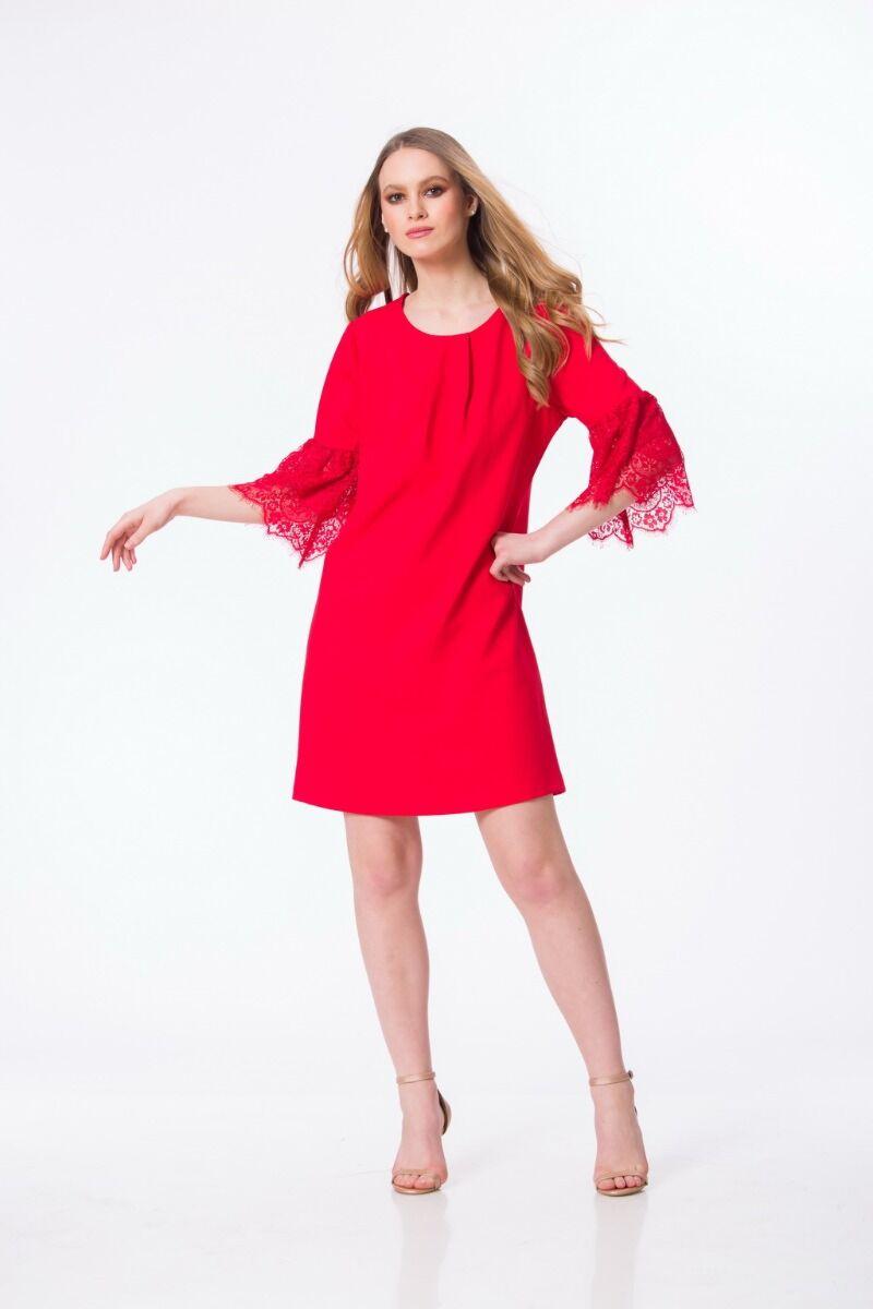Rochie DAMES rosie cu datela la maneca