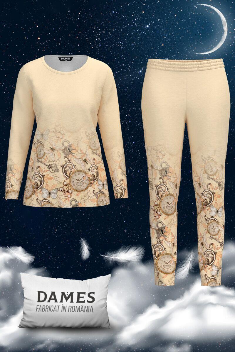 Pijamale DAMES  de dama bej cu imprimeu floral