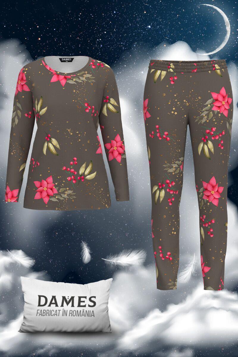 Pijamale dames  de dama chic cu imprimeu floral