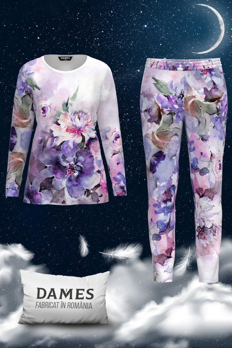Pijamale DAMES  de dama cu imprimeu floral multicolor
