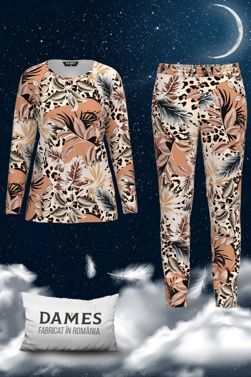Pijamale DAMES  de dama cu imprimeu frunze
