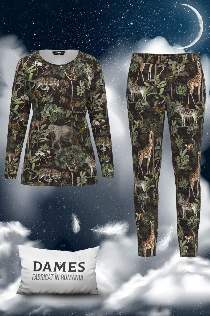 Pijamale DAMES  de dama cu imprimeu Zoo