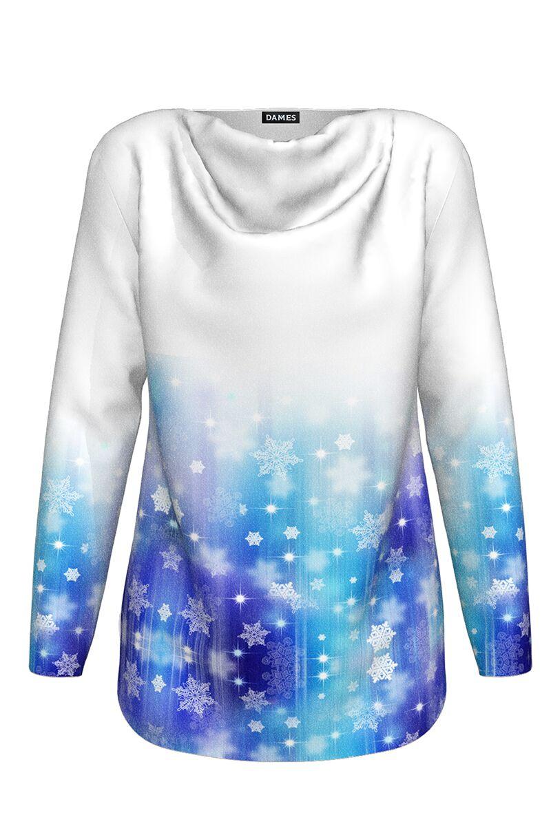 pulover DAMES alb albastru cu imprimeu de Craciun