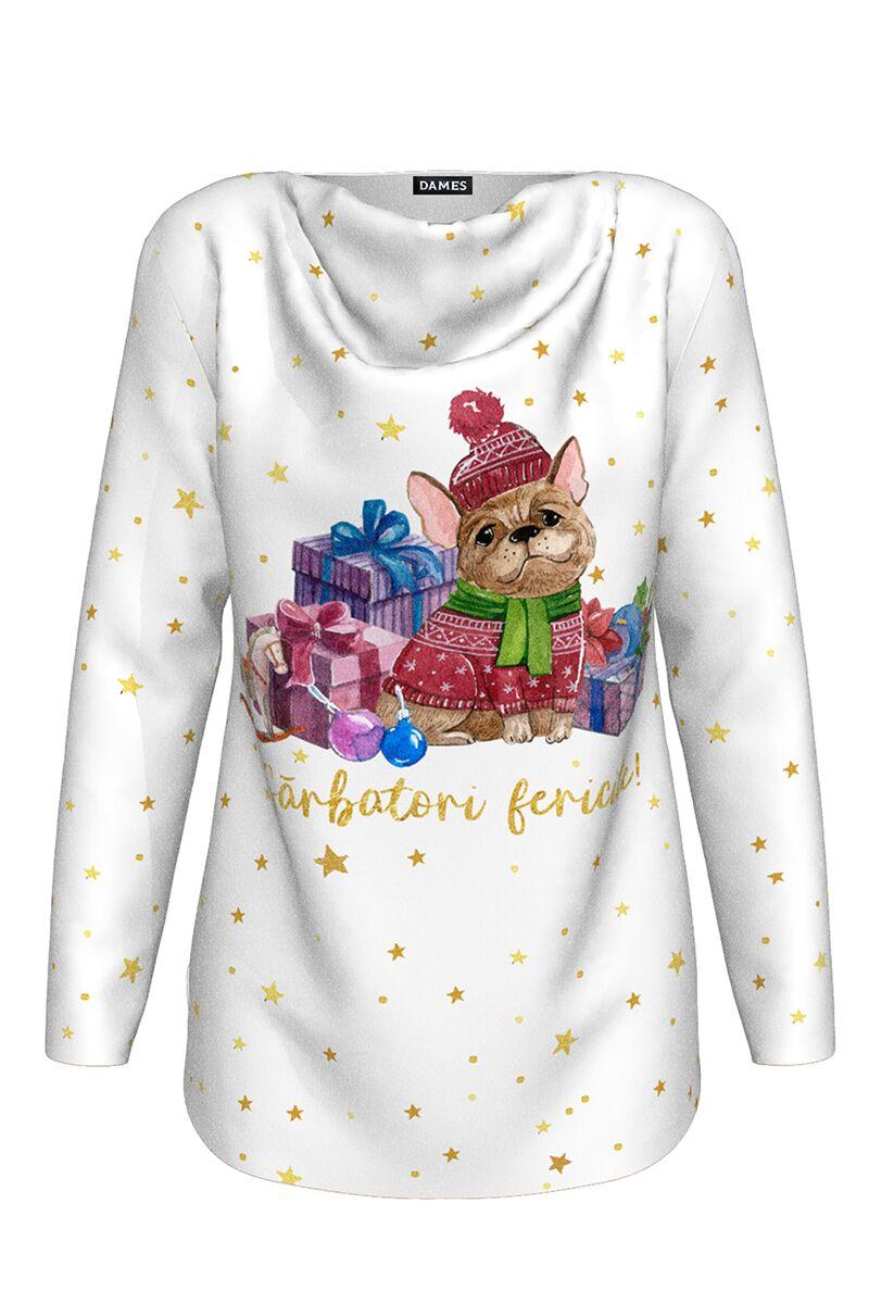 pulover DAMES alb imprimat cu stelute  si motive amuzante de Craciun
