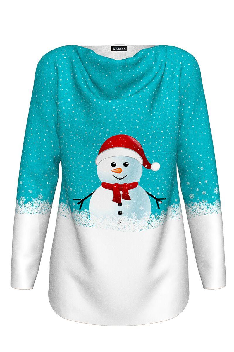 pulover DAMES de Craciun cu maneca lunga imprimat in doua culori alb albastru  om de zapada