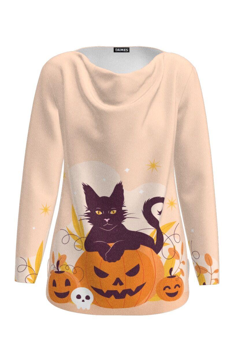Pulover delicat imprimat cu model Halloween Black Cat CMD1413