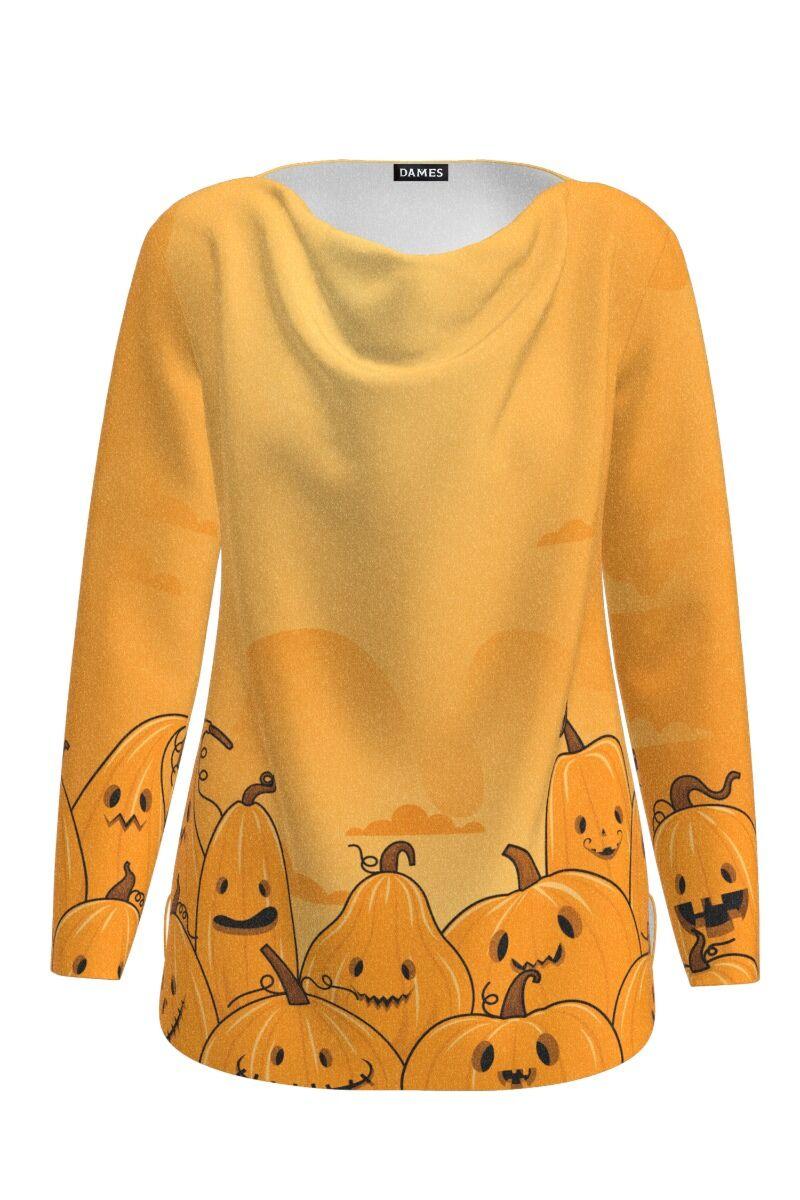 Pulover galben delicat imprimat cu model Halloween Pumpkins CMD1412