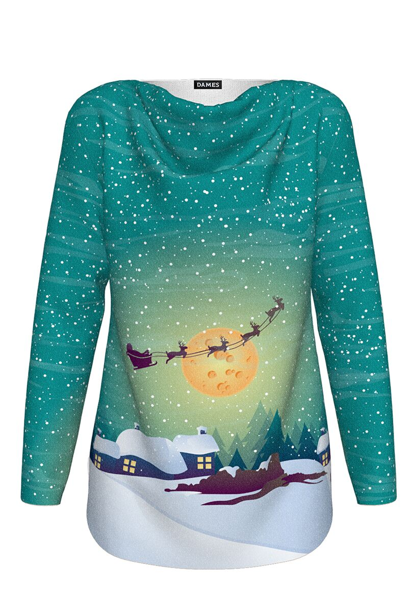 pulover DAMES imprimat cu model de craciun Noaptea magica