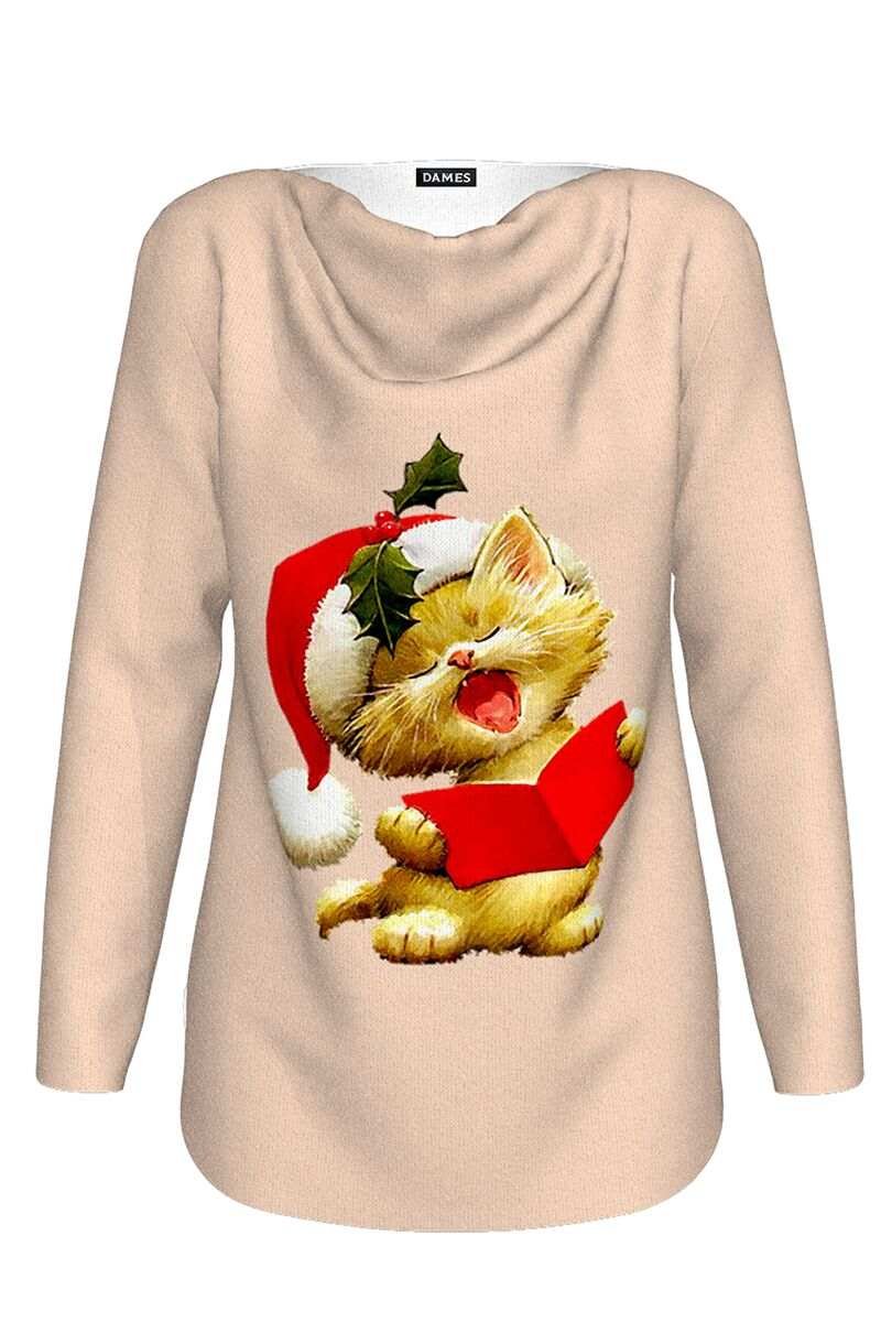 pulover DAMES imprimat de craciun cu model pisicuta cantareata