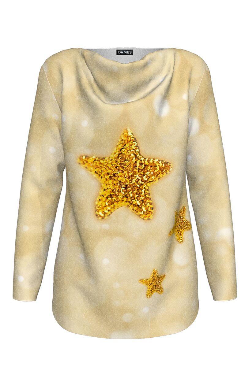 pulover DAMES in nuante de bej cu maneca lunga imprimat cu stelute decorative de Craciun