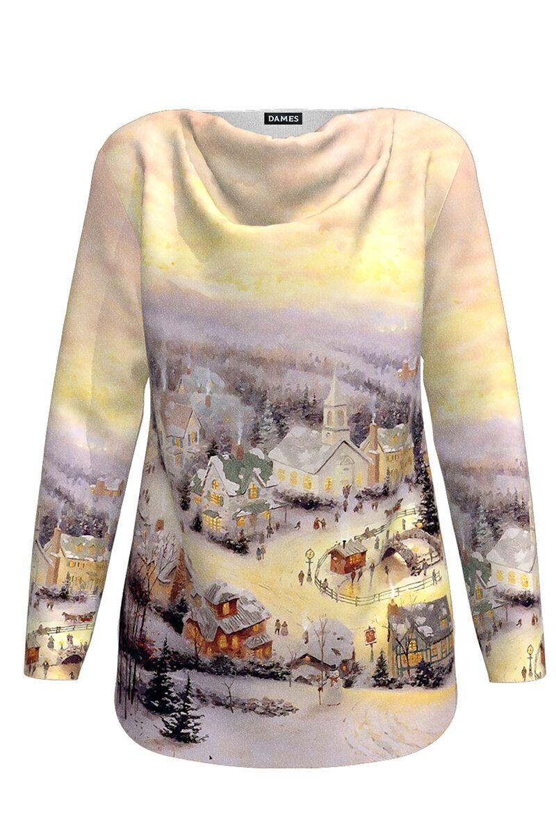 pulover DAMES multicolor  cu maneca lunga imprimat cu motive de Craciun