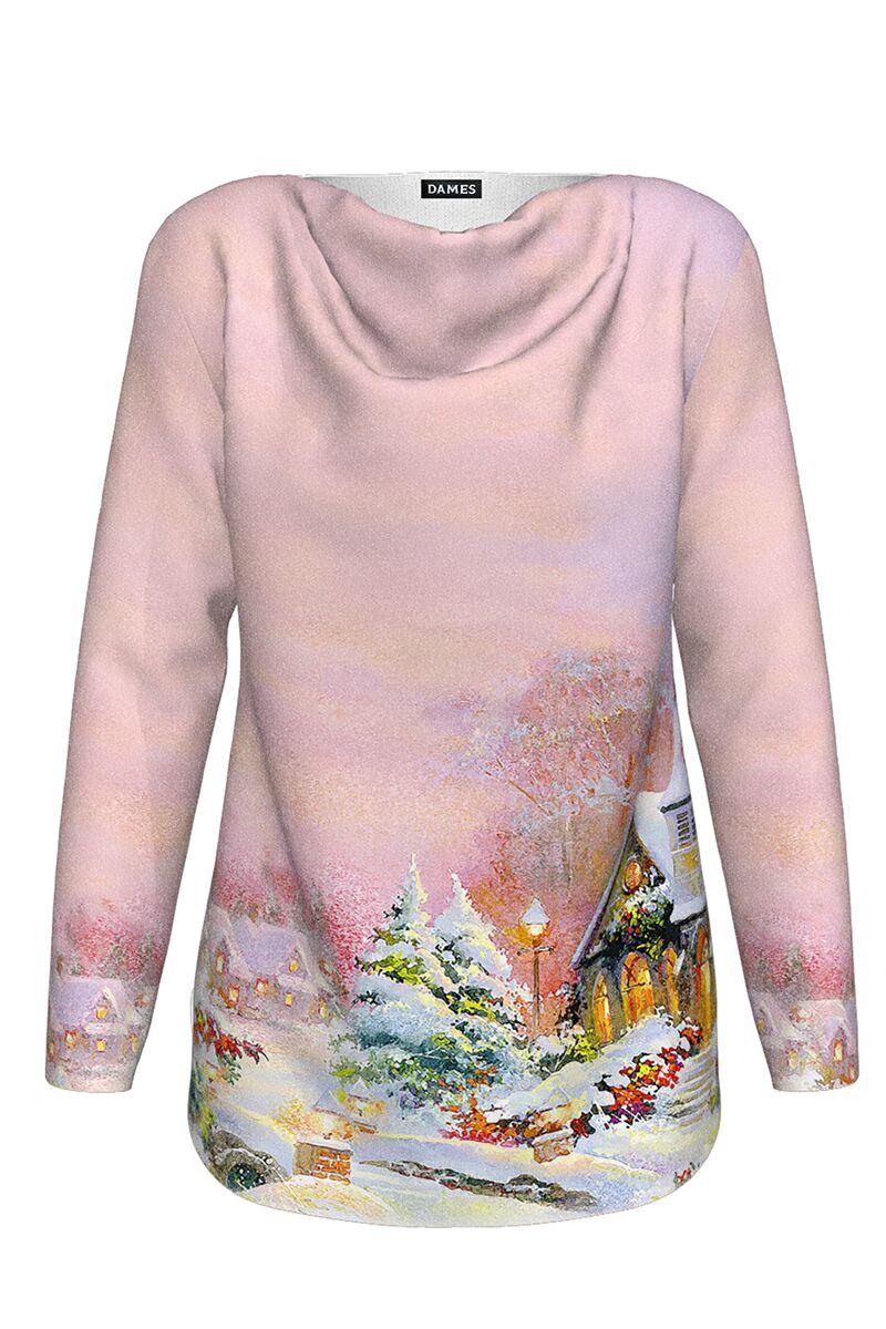 pulover DAMES roz de Craciun cu maneca lunga imprimat peisaj de iarna