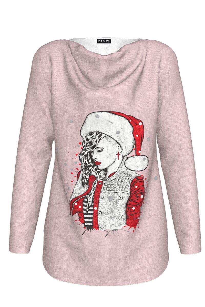 pulover DAMES roz  imprimat cu model de Craciun Craciunita