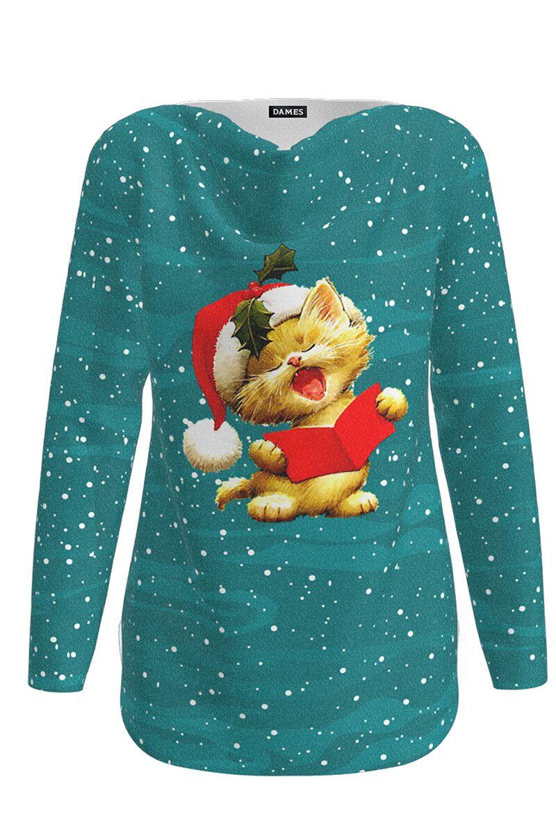 pulover Dames verde imprimat cu motive de Craciun