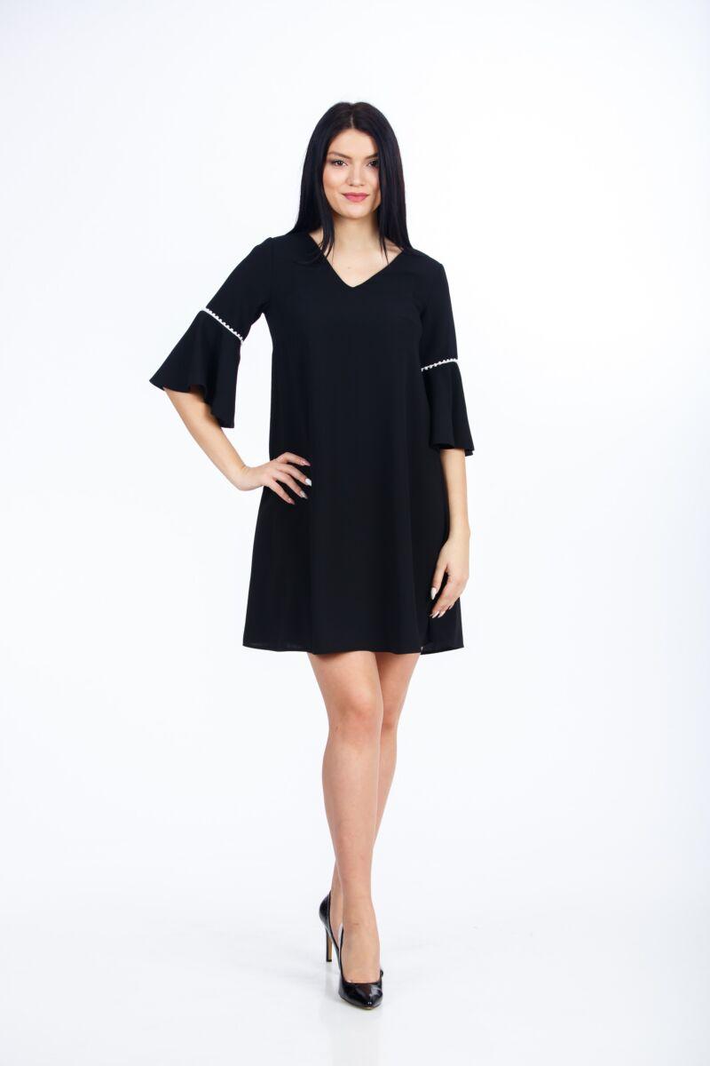 rochie DAMES neagra tip clopot cu detalii albe la maneca
