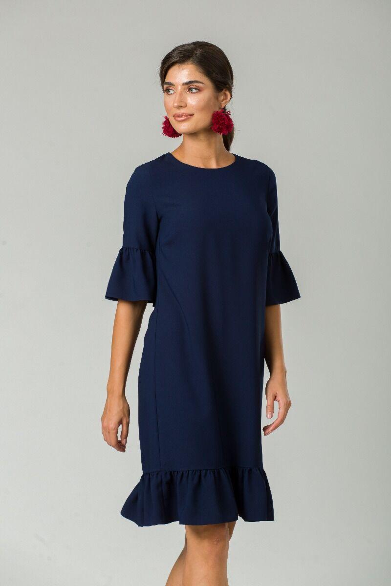 rochie DAMES de craciun eleganta bleumarin cu volane