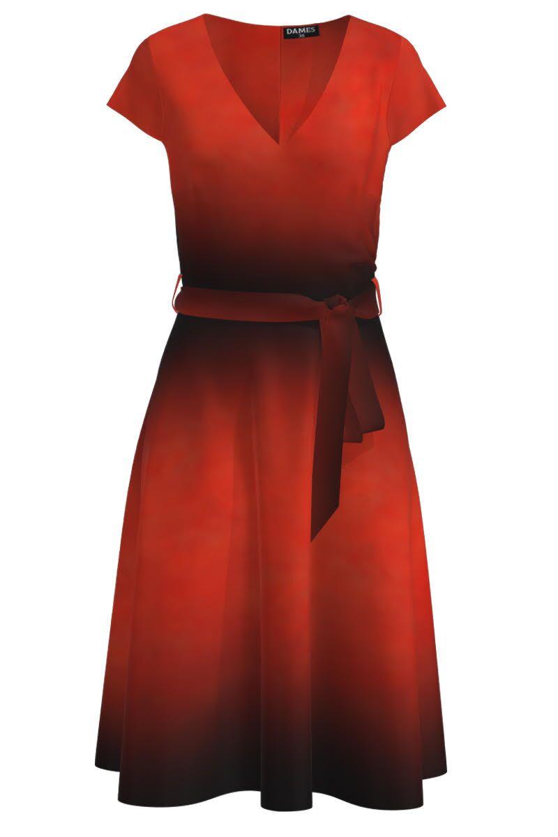 Rochie DAMES  eleganta, de vara, cu maneca scurta si imprimeu rosu corai in degrade