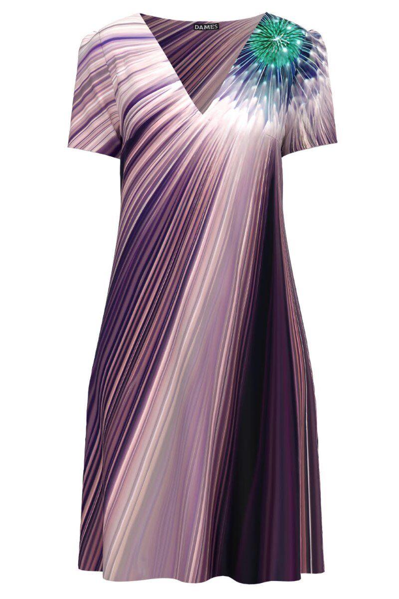 Rochie casual de vara imprimata digital in nuante de mov CMD972