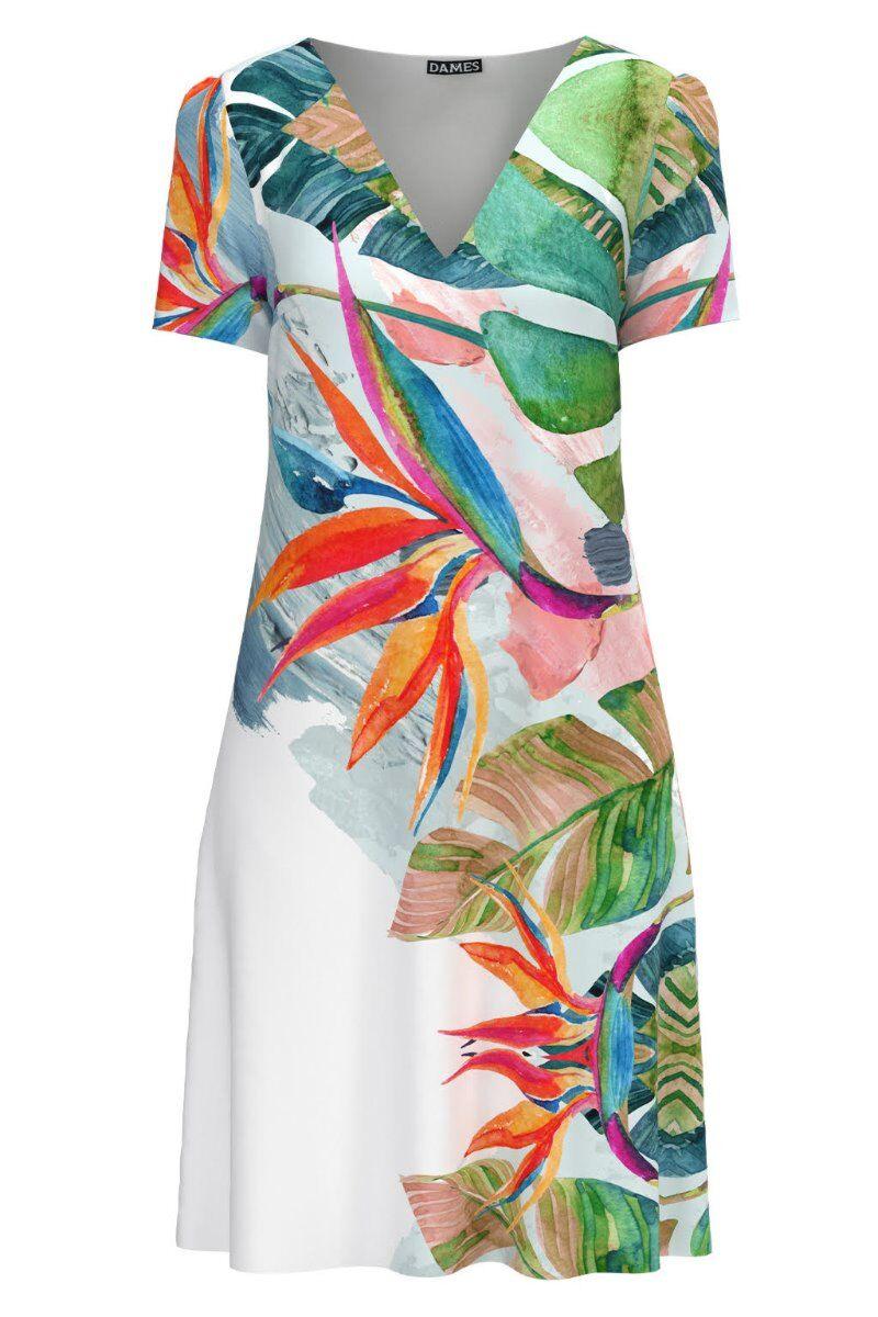 Rochie casual lejera de vara alba imprimată cu model multicolor CMD979