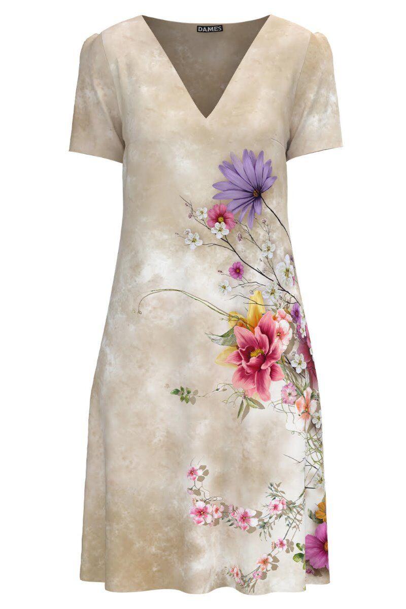 Rochie casual lejera de vara bej imprimată cu model floral CMD973