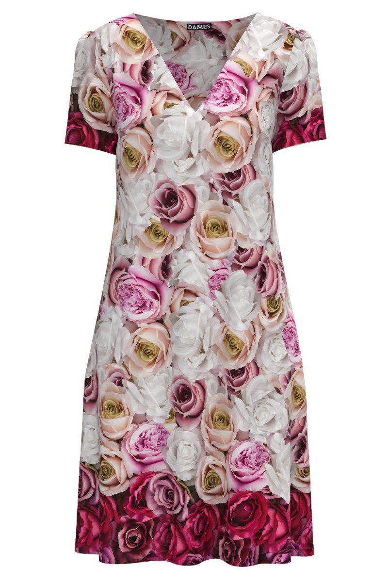 Rochie casual lejera de vara imprimată cu model trandafiri CMD976