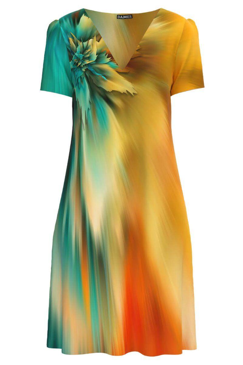 Rochie DAMES  casual lejera de vara multicolora imprimată cu model abstract