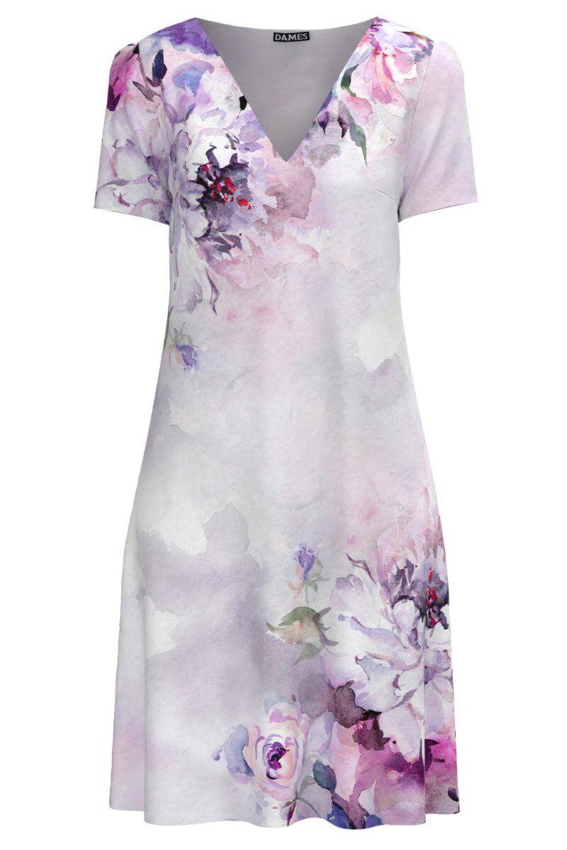 Rochie casual lejera de vara pastel imprimată cu model floral CMD978