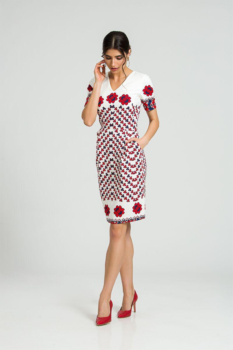 rochie DAMES alba cu print popular romanesc rosu cu bleumarin