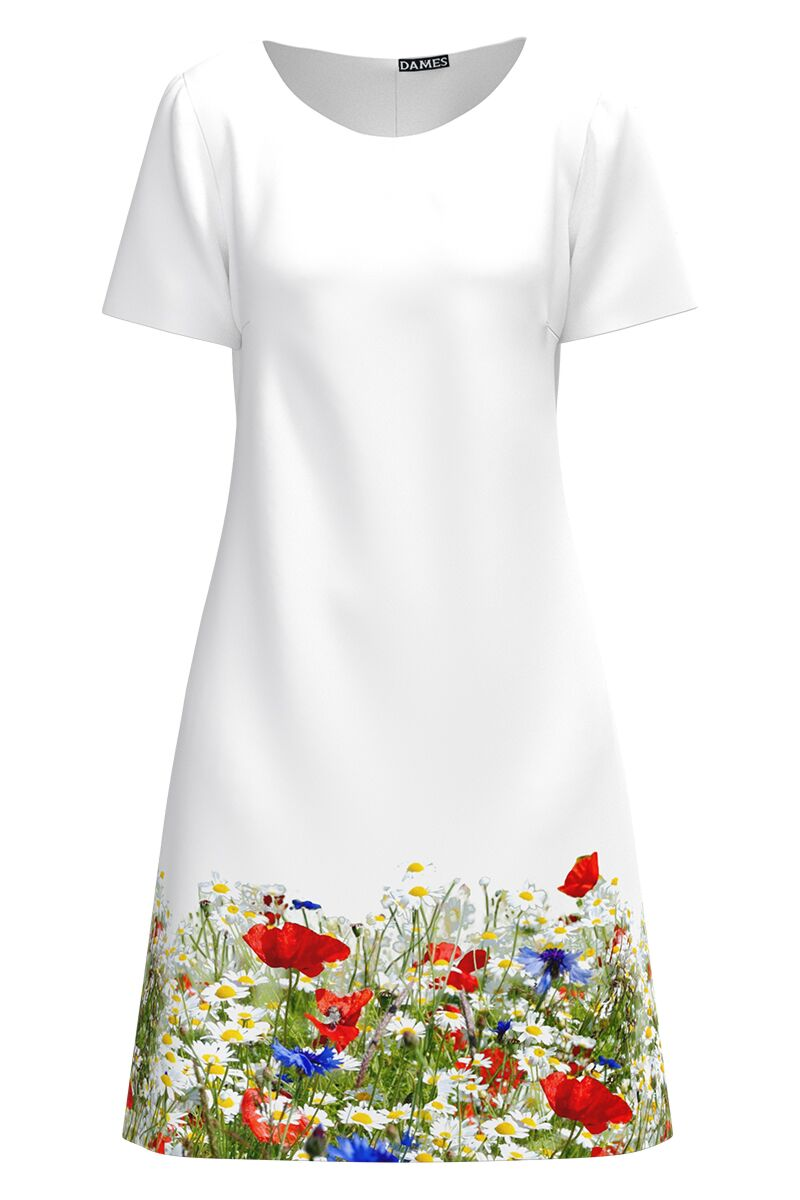 Rochie DAMES alba imprimata digital cu model floral.
