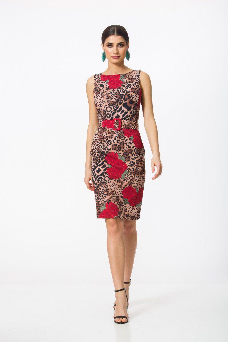 Rochie eleganta PREMIUM, Jaguar Rose cu imprimeu digital DP008AP