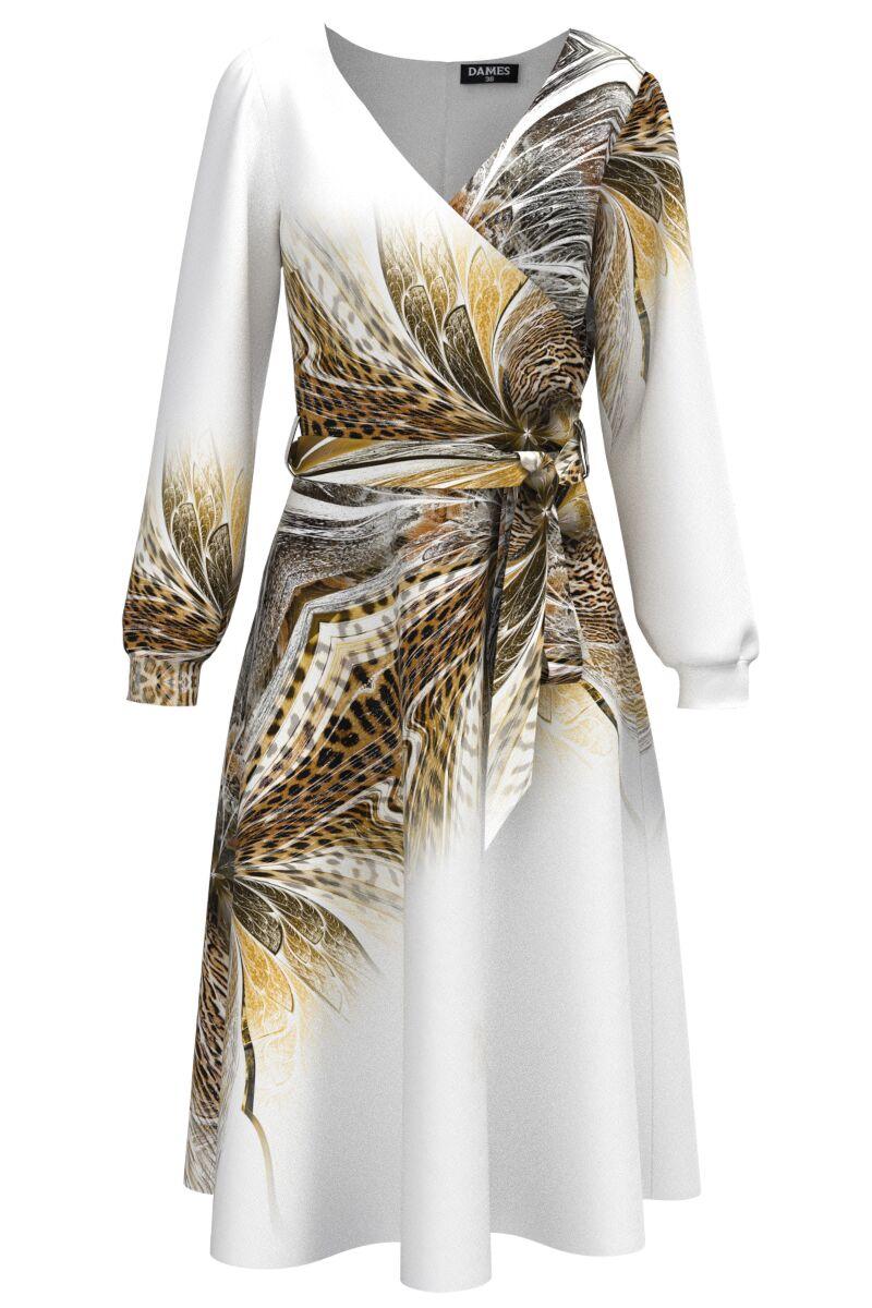 Rochie alba eleganta cu maneca lunga imprimata animal print CMD1482