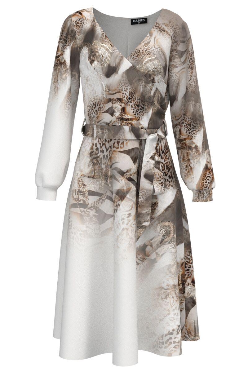Rochie alba eleganta cu maneca lunga imprimata Leopard CMD1483