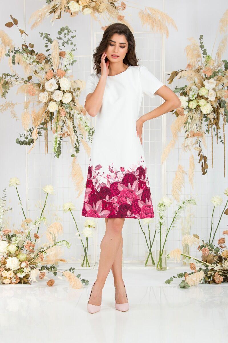 Rochie DAMES alba imprimata digital cu model trandafiri