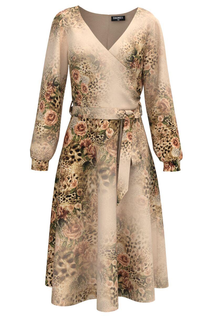 Rochie bej eleganta cu maneca lunga si imprimeu Trandafiri CMD1481