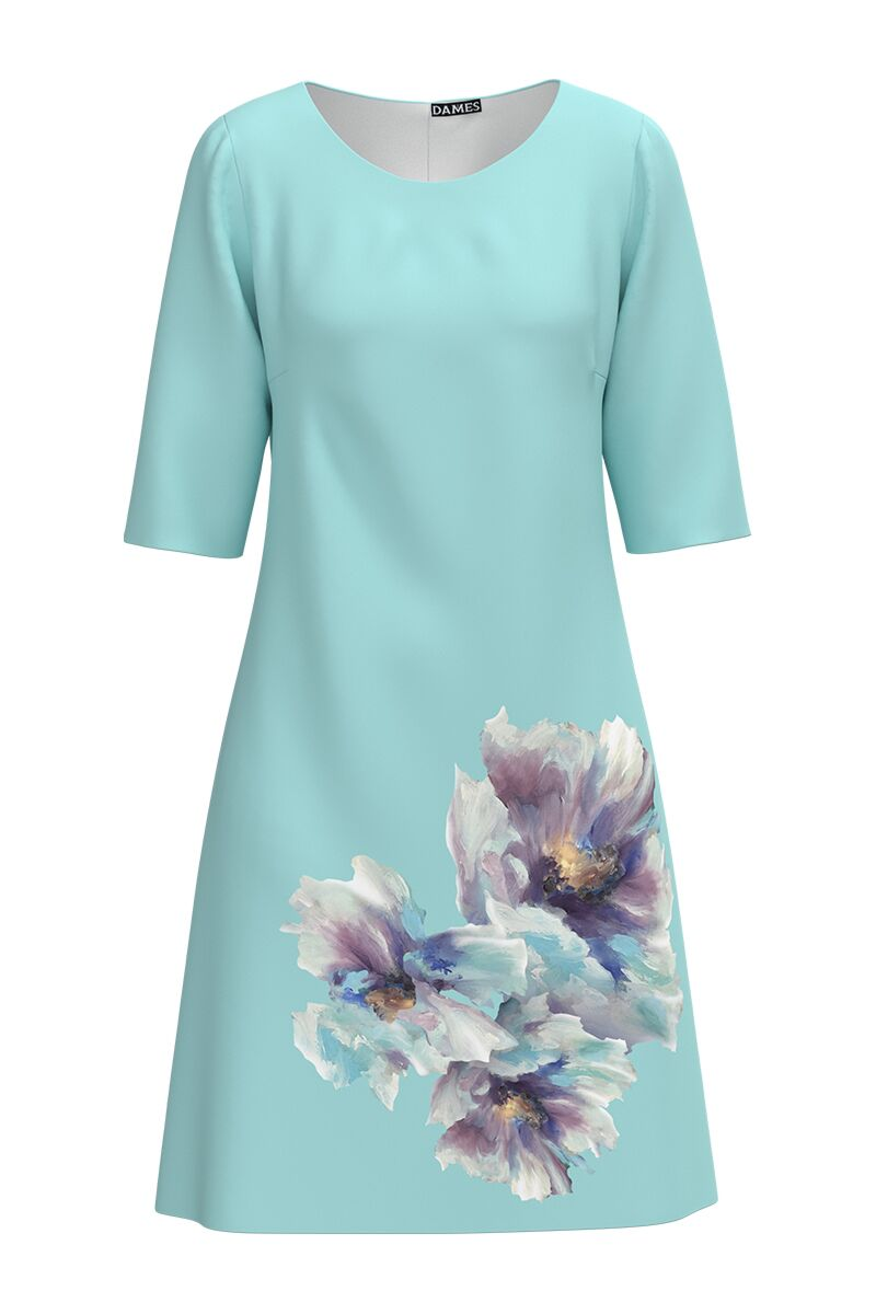 Rochie bleu evazata imprimata digital cu model floral CMD1002