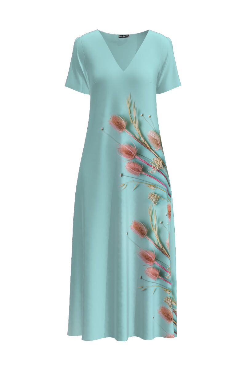 rochie DAMES bleu lunga cu buzunare