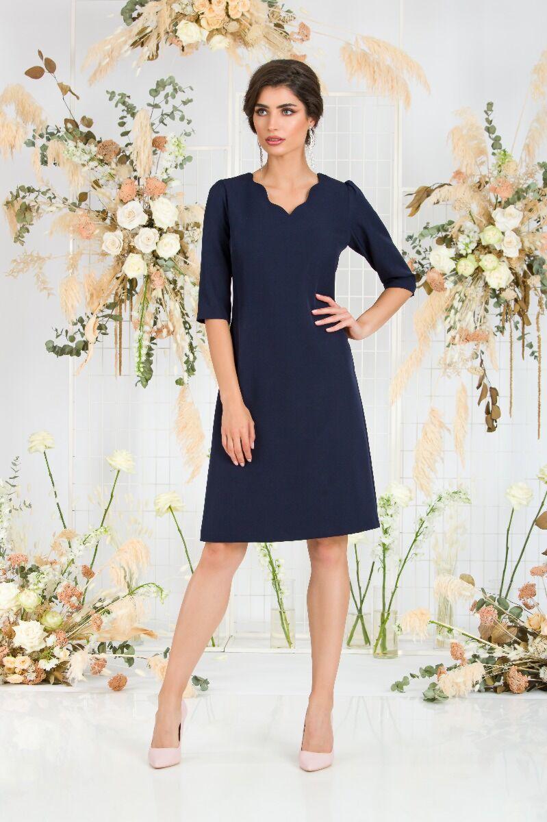 Rochie DAMES  bleumarin, eleganta cu maneca trei sferturi