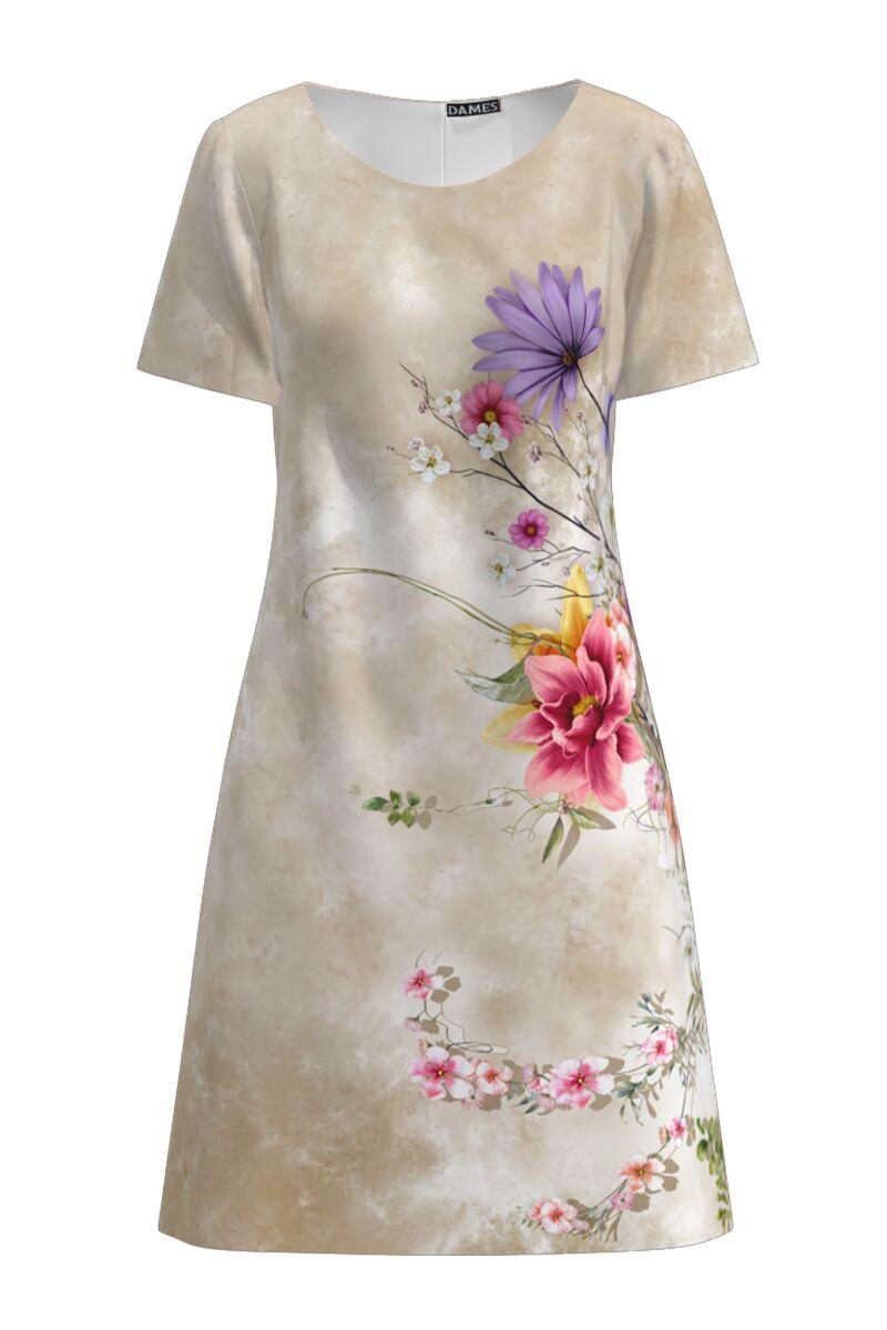 Rochie DAMES  casual bej cu imprimeu digital floral