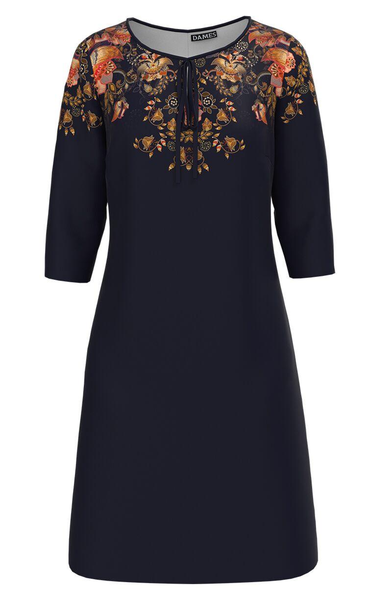 Rochie DAMES  casual bleumarin imprimata cu model floral
