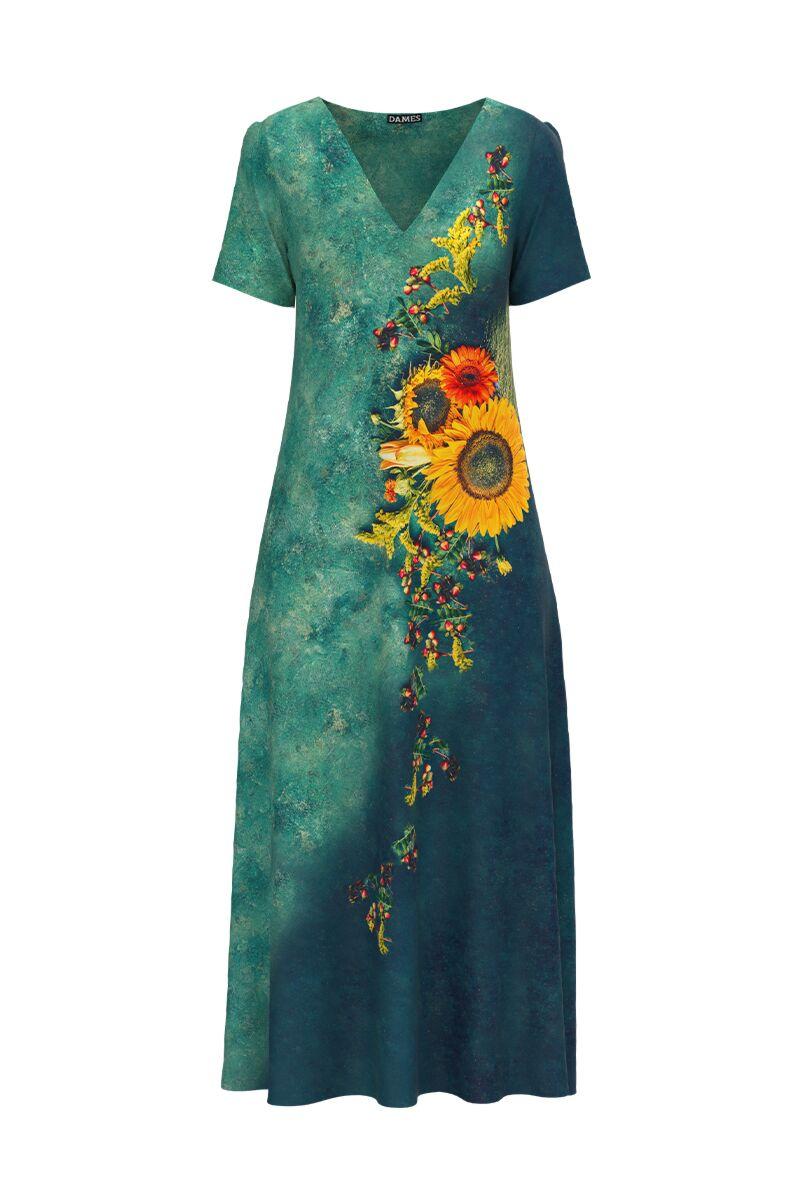 Rochie de vara lunga cu buzunare imprimata digital Floarea soarelui CMD915