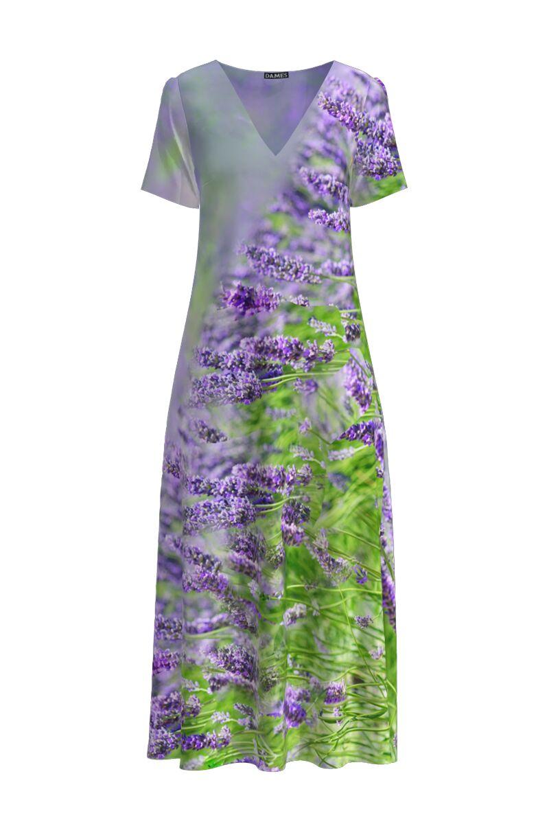 Rochie de vara  lunga cu buzunare imprimata Lavanda CMD911