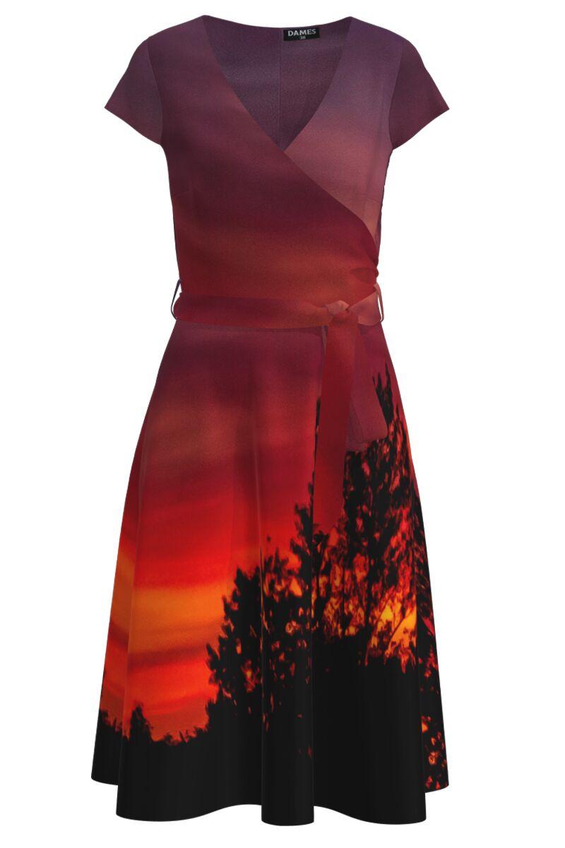 Rochie casual de vara cu maneca scurta si imprimeu Apus de soare CMD1004