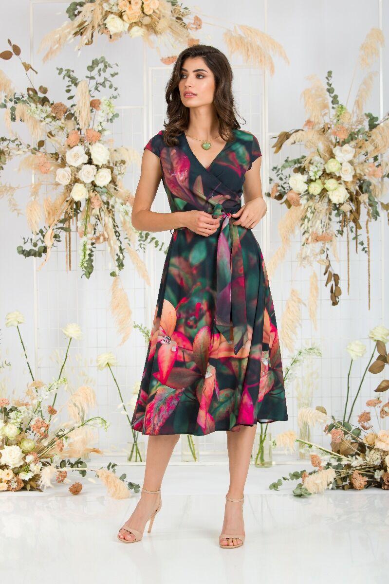 Rochie DAMES de zi cu maneca scurta siimprimeu digital floral în contrast