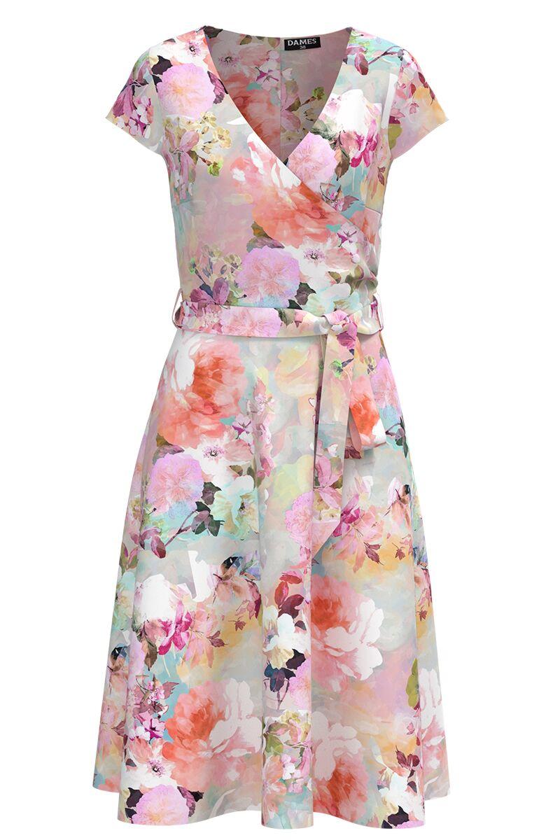 Rochie casual de vara cu maneca scurta si imprimeu Floral pastelat CMD985