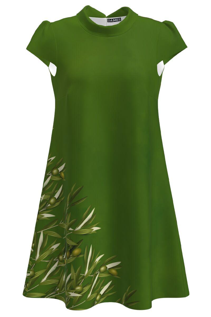 Rochie casual imprimata digital  ramuri de maslin CMD1036