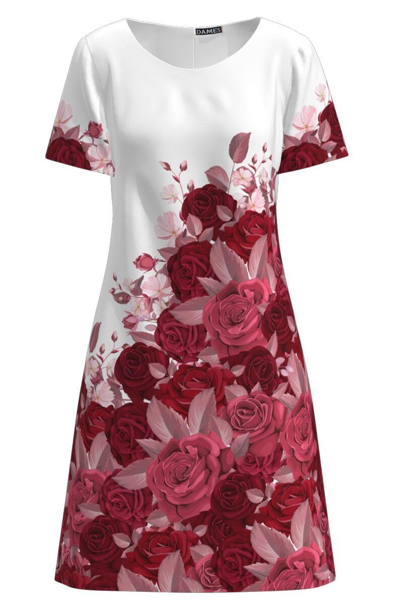 Rochie casual imprimata digital cu model Trandafiri CMD903
