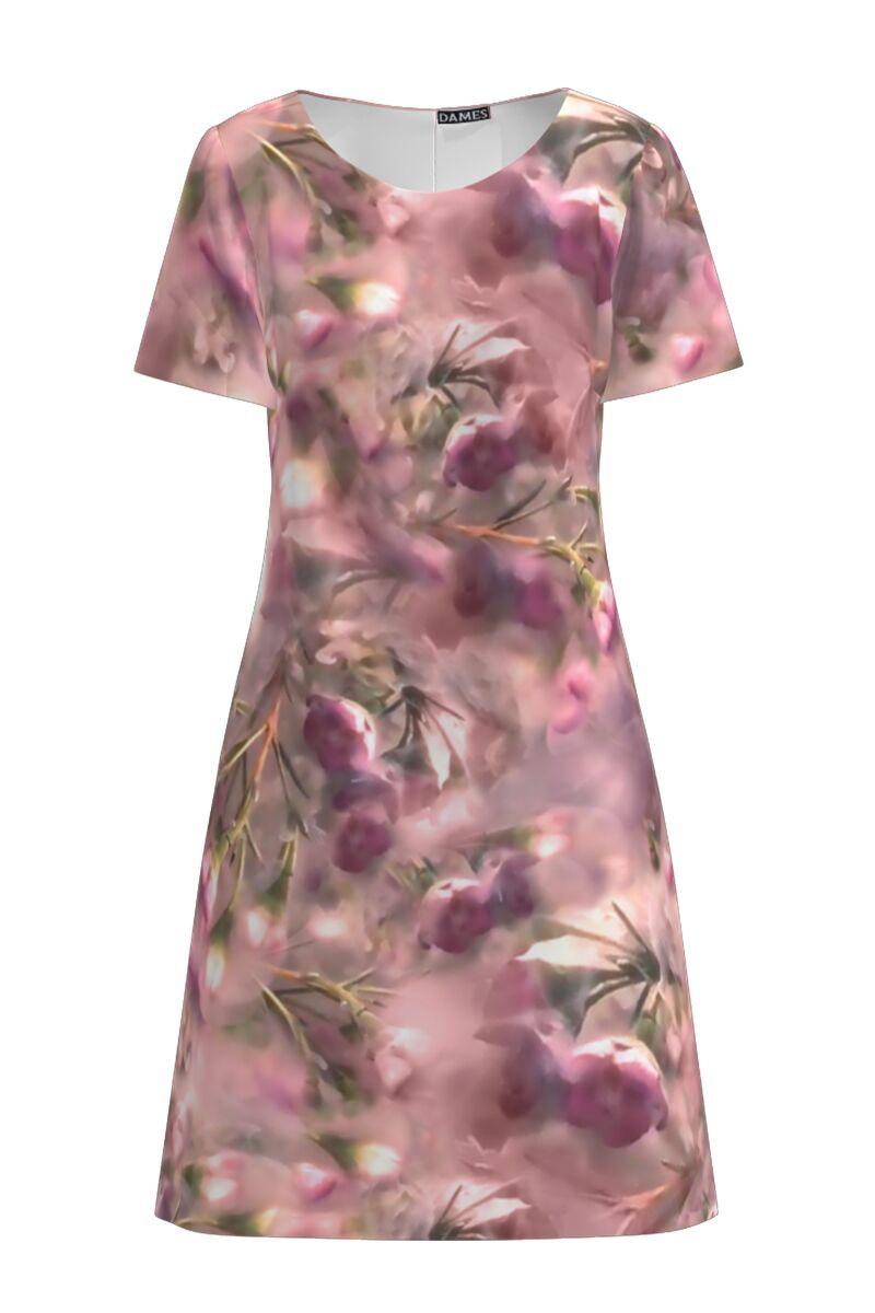 Rochie DAMES  casual in nuante de roz cu imprimeu digital floral